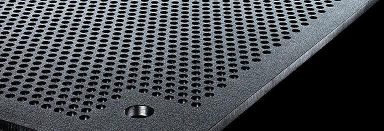 A sample of perforated Super Bainite Steel