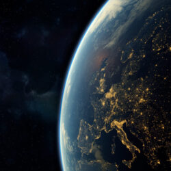 realistic render of the earth seen from space,visible lights of European cities at night.Elements of this image furnished by NASA. 3d rendering